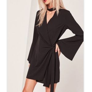 Missguided choker plunge dress w/ flutter sleeves